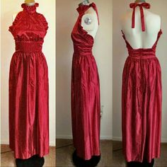 """Vintage maxi halter dress red polka dot Vintage H/B Jrs of California dress. No size tag. Should fit a size 2 or maybe a 4. Excellent (A-) vintage condition!! Material feels like Satin Red with white raised polka dots halter tie at the neck back zipper & 1 hook closure comes with matching wrap There is a spot on the back of the dress on the left side. May or may not come out with a cleaning. Hard to see as it blends with the dress. Length 56.5"""" Waist 12.5"""" across the front  Hips 26"""" across…"""
