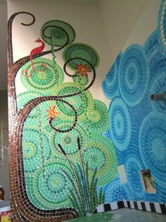 Mosaic Bathroom WIP by Frances Green