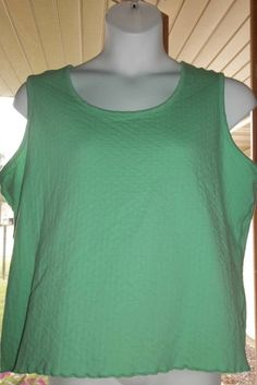 DENIM & CO. PLUS SIZE 2X GREEN STRETCH KNIT SLEEVELESS TOP BLOUSE #DenimandCo #KnitTop #CasualCareer