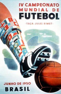 Historic fifa world cup poster design, hosted in brazil. Soccer Art, Soccer Poster, Football Art, Vintage Football, Football Boots, Sand Soccer, Real Soccer, School Football, 1950 World Cup