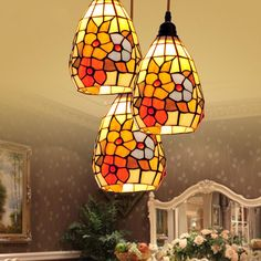BYB Vintage Tiffany Style Glass Mini Pendants 3-Light Shell Shade Ceiling Lights Glow Effect, Stained Glass Patterns, Chandelier Lighting, Art Nouveau, Lanterns, Tiffany, Ceiling Lights, Shell, Pendants