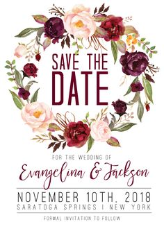 Midnight Blooms Save The Date - maroon