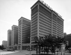 The 15-story General Motors Building was designed in 1919 by Albert Kahn, and used until 1996 as the headquarters of General Motors Corporation. The building, currently known as Cadillac Place, is now leased by the State of Michigan.
