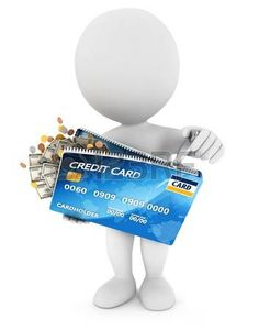 Personaje blanco abre una tarjeta de crédito...