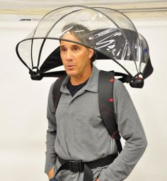 Umbrella of the Future? Nubrella is a Funny-Looking Hands-Free Umbrella. New Gadgets, Gadgets And Gizmos, Cool Gadgets, Technology Gadgets, Electronics Gadgets, Kitchen Gadgets, Rain Gear, Parasol, Cool Inventions