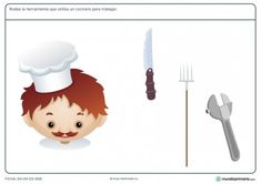 Ficha de herramientas del cocinero para primaria
