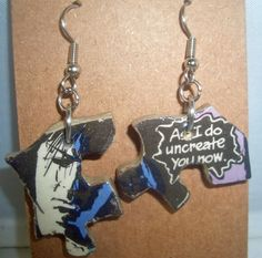 ♢∂ #Sandman Comics Recycled #Puzzle Dangle #Earrings by CurbedEarth #diy http://etsy.me/2fNt9eH