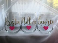 Personalized Wine Glasses ~ Custom Stemless Wine Glasses with Heart ~ Bachelorette Wine Glasses ~ Bridesmaid Gift ~ Bachelorette Party Glass by LoveLissy on Etsy https://www.etsy.com/listing/275423124/personalized-wine-glasses-custom