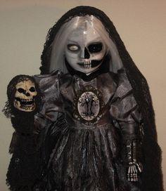 Ooak Horror Gothic Creepy Porcelain Art Doll By L Ganci 'Zombie Skeleton' Skull
