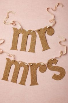 cute mr and mrs wedding banner