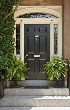 Accessories & Furniture,Appealing French Country Entry Doors With Beautiful Swing Door And Fresh Green Plant In Front Of Entry Door,Classic And Modern French Country Entry Doors Design
