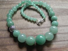 gemstone beadwork necklace green aventurine by AdrianaSoto on Etsy, $68.00