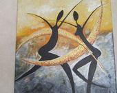 Peinture acrylique, tableau moderne, tableau contemporain, silhouettes africaines danse et croissants dorés,, : Peintures par airenne