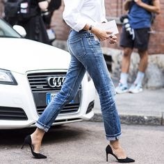 jeans, pumps, white