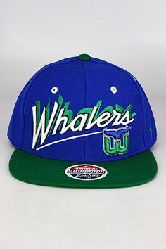 Zephyr Shadow Script Hartford Whalers Snapback Hat Blue - Green