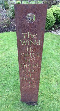 Corten steel sculpture at Shepherd House Garden in Inveresk, East Lothian.