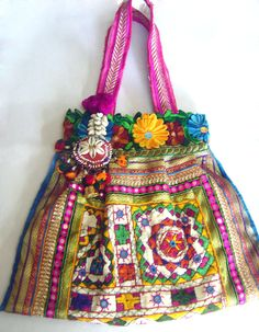 Kutch Styled Ethnic Tote Bag  Lace Mirror Hand by uDazzle on Etsy, $55.00