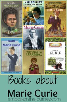 Books about Marie Curie. Science through living books -- biographies of famous scientists to inspire studies. Science Ideas, Science For Kids, Science Activities, Book Suggestions, Book Recommendations, Marie Curie, Unit Studies, Women's History, Reading Resources