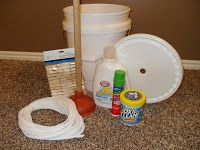 5 gallon bucket clothes washing kit -- for emergency preparedness -- and all the supplies store inside the bucket!