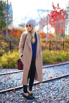 Ankle-Length Coats, Winter's #1 Trend - camel colored longline coat + menswear loafers and gray beanie