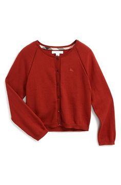 Girl's Burberry Raglan Sleeve Knit Cardigan