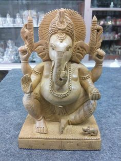 """8"""" Wooden GANESH Statue Hand Carved Hindu Elephant God India Lord+Free Shipping$"""