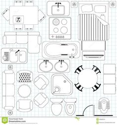 Photo about Vector Icons : Simple Furniture / Floor Plan (Outline). Illustration of improvement, bowl, diagram - 28982876 Architecture Symbols, Architecture Plan, Interior Architecture, The Plan, How To Plan, Floor Plan Symbols, Free Floor Plans, Drawing Furniture, Floor Plan Drawing