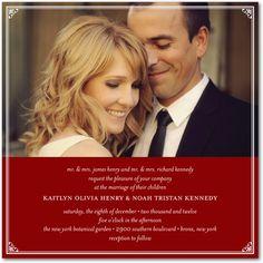 Like the idea of a photo.    Signature White Wedding Invitations Vision of Love - Front : Black