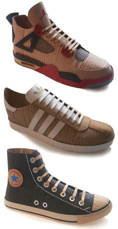 Shoes made from #recycled cardboard -  Solomon is gonna LOVE this!!