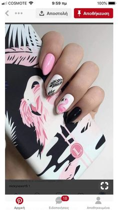 The Boy from the Woods - pink Flamingo nails;pinapple and flamingo nails; Flamingos spring summer nail ar… You are in the r - Spring Nail Art, Spring Nails, Pink Summer Nails, Summer Vacation Nails, Fall Nails, Holiday Nails, Vacation Nail Art, Pretty Nails For Summer, Nail Pink