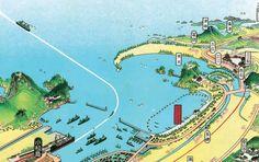 Japanese map illustrations