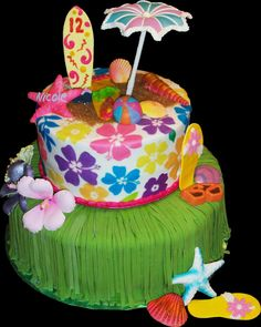This so would of been perfect for my little sisters luau birthday party on saturday! Hawaiian Theme Cakes, Luau Cakes, Hawaiian Luau Party, Luau Theme, Hawaiian Birthday, Party Cakes, Hawaii Birthday Cake, Themed Birthday Cakes, Themed Cakes