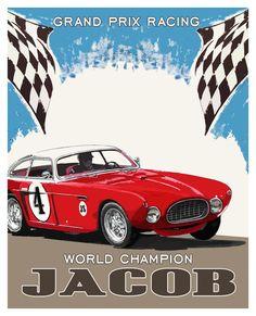 Personalized Boys Room Art/Race Car  11x14