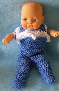 Free Crochet Pattern Footed Overalls With Matching Shirt for a 12-inch Baby Doll