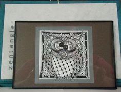 Zentangle Original Owl 3x3 in 4x6 Frame by DoodlesByJenAnn on Etsy, $12.50