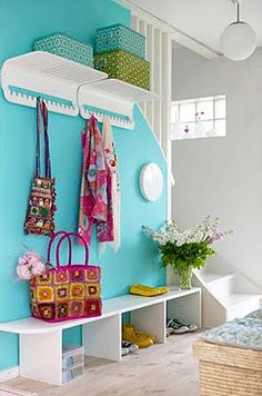 love the wall color and the shelving.