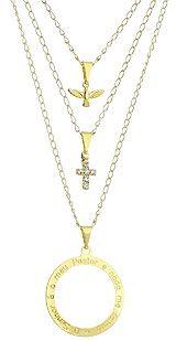 Gargantilha tripla folheada a ouro c/ cruz de strass, Divino Espírito Santo e mandala c/ parte do Salmo 23-Clique para maiores detalhes