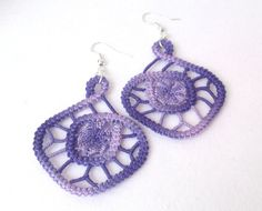 Purple ombre spiral romanian point lace by TinyOrchidsJewelry