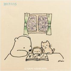 """2,028 mentions J'aime, 9 commentaires - なみはりねずみ (@namiharinezumi) sur Instagram: """"1093 雪の日  a snowy day #illustration #hedgehog #polarbear #cat #イラスト #ハリネズミ #シロクマ #猫 #なみはりねずみ #雪…"""""""
