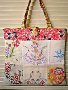 Vintage Embroidery Tote
