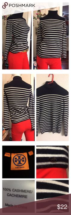 "Tory Burch Striped Cashmere Turtleneck Sweater Sm Pre-owned condition.   I bought it pre-owned so you would be the 3rd owner.  I wore it once on a really cold night layered w a hoodie & a trench coat & trekking up a 10 foot roof then into a single sized pop up tent. Thrown in the wash on cold setting then rolled over w a lint brush.  Wam Bam! 🌈🌈🌈🌈  Approx measurements laid flat- Shoulder to shoulder: 13"" Underarm to underarm: 15.5"" Waist: 14.5"" Shoulder to hem: 24"" Sleeve: 25.5"" Tory…"