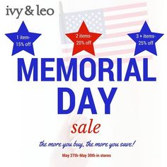Memorial Day Sale at Ivy & Leo!