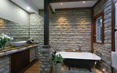 Bathroom using Infinitistone Blue Mountain 075 series Stone Cladding, Wall Cladding, Stone Molds, Stone Veneer, Blue Mountain, Interior Walls, Natural Stones, Projects, Design