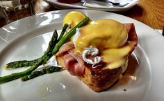 Eggs Benedict with Ham and Asparagus at Globe Cafe