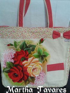 Painted Bags, Lady Dior, Fabric Painting, Decoupage, Projects To Try, Crafty, Tote Bag, Purses, Canvas
