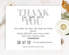 Editable Invitations, Templates and Printables by JermolinaArt Small Business Cards, Business Thank You Cards, Label Design, Branding Design, Branding Your Business, Business Stationary, Ecommerce Packaging, Thank You Customers, Layout Design