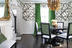 dining kelly walls wearstler gold geometric emerald decor curtains channels decorate chairs drapes wall rooms upper luxe accents wainscoting fabric