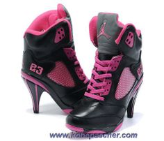 purchase cheap 418f5 fd4d1 Femmes Noir Rose Air Jordan 5 Talons Sortie Bota Nike, Black Shoes, Nike  Lebron