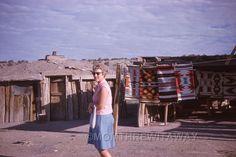 1963 COLOR SLIDE AZ Arizona Woman at Navajo Indian Rugs Roadside Stand