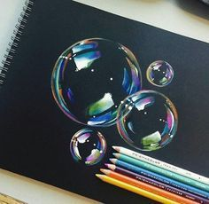 50 Beautiful Color Pencil Drawings from top artists around the world Realistic Bubbles Color Pencil Drawings by Manny Lucero . Realistic Drawings, Art Drawings Sketches, Colorful Drawings, Cool Drawings, Pencil Drawings, Bubble Drawing, Cat Drawing, Drawing Tips, Painting & Drawing
